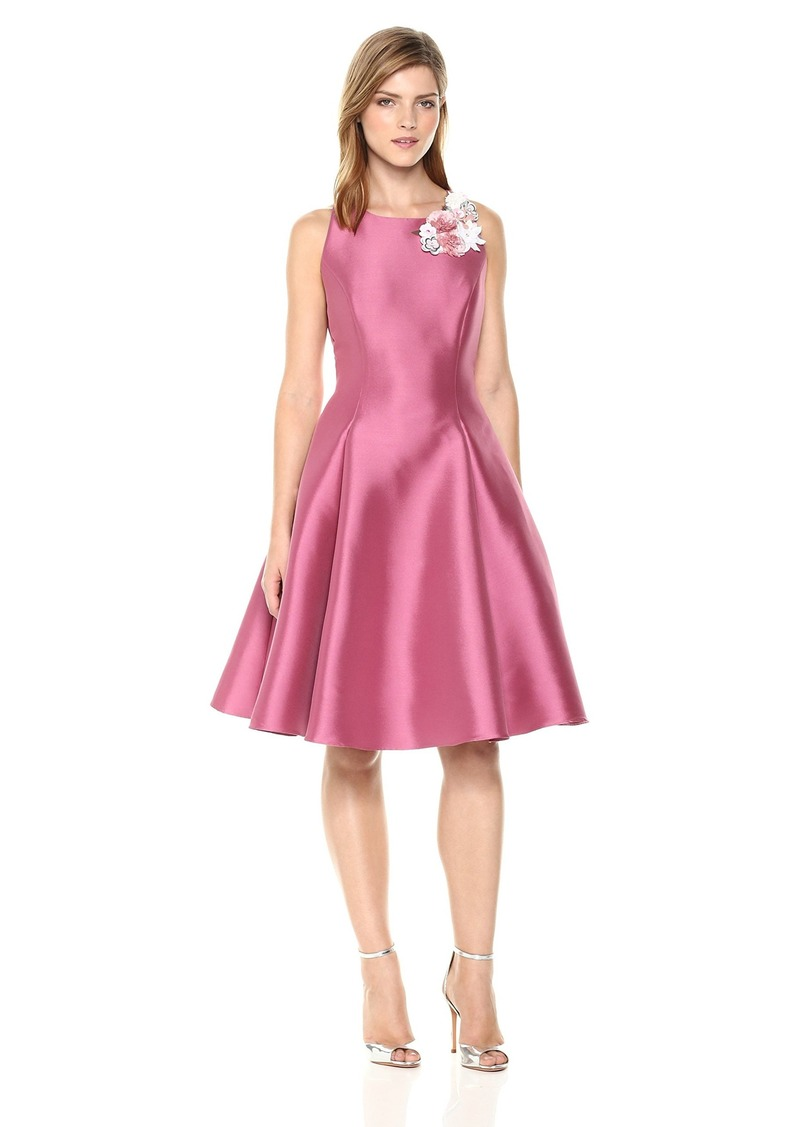 Nicole Miller New York Women's fit and Flare Cocktail Dress with Flower Trim Neckline
