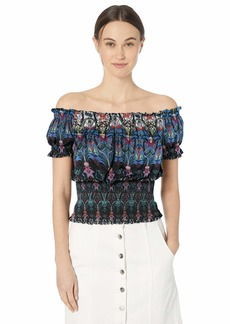 Nicole Miller New York Women's Fitted Short Sleeve Off The Shoulder Top Black Multi/Nouveau flow-00206