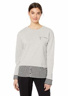 Nicole Miller New York Women's French Terry Combo Sweatshirt Grey/Black & White stripe-08401