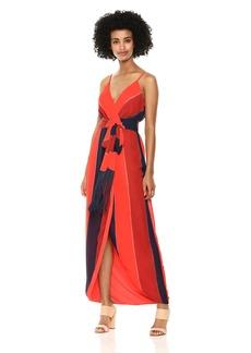 Nicole Miller New York Women's Fringe Faux wrap Cocktail Dress