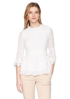 Nicole Miller New York Women's LACE 3/4 Sleeve Blouse  L