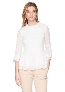 Nicole Miller New York Women's Lace 3/4 Sleeve Blouse  M