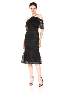 Nicole Miller New York Women's Lace Cold-Shoulder Flounce Hem Cocktail Dress