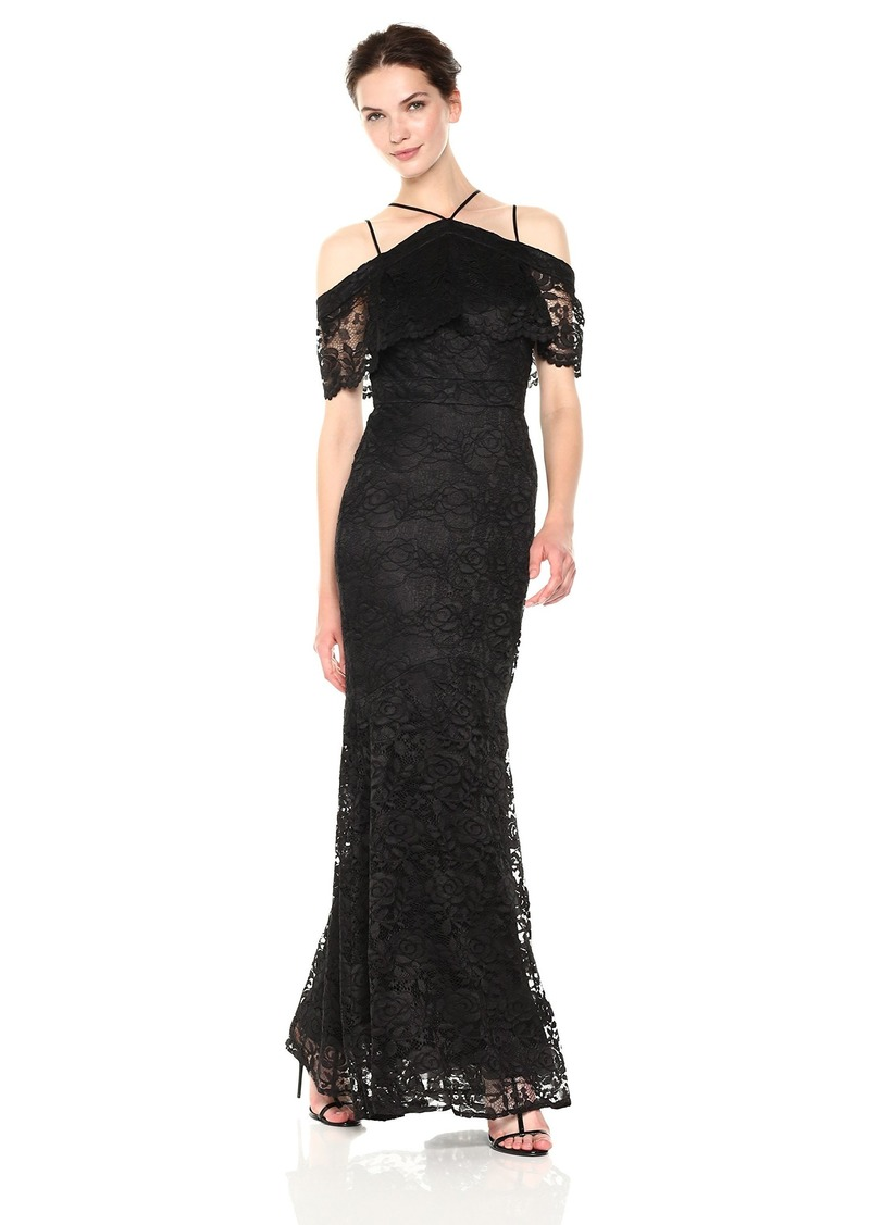 Nicole Miller New York Women's Lace Cold Shoulder Gown