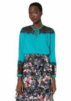Nicole Miller New York Women's Lace Tie Neck Long Sleeve Blouse Green fanfare-31020