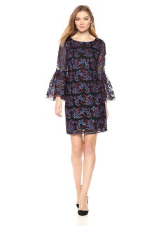 Nicole Miller New York Women's Long Bell Sleeve Embroidered Tulle Sheath Cocktail Dress red/Royal/Black