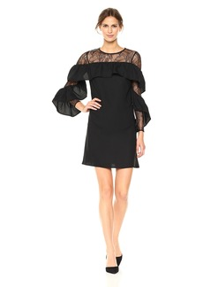 Nicole Miller New York Women's Long Ruffle Sleeve with Lace Yoke Shift Dress