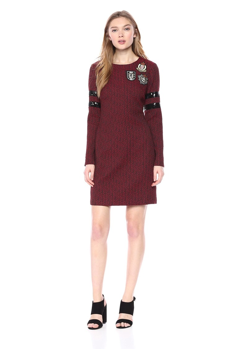 Nicole Miller New York Women's Long Sleeve Cocktail Dress with Patches red/Black