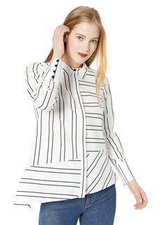 Nicole Miller New York Women's Long Sleeve Draped Top White/Black Stripe-19901