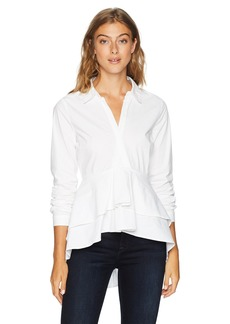 Nicole Miller New York Women's Long Sleeve High Low Blouse  L
