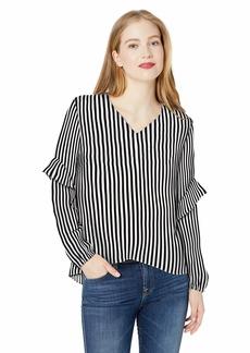 Nicole Miller New York Women's Long Sleeve Ruffle Blouse Black/White Stripe-00119