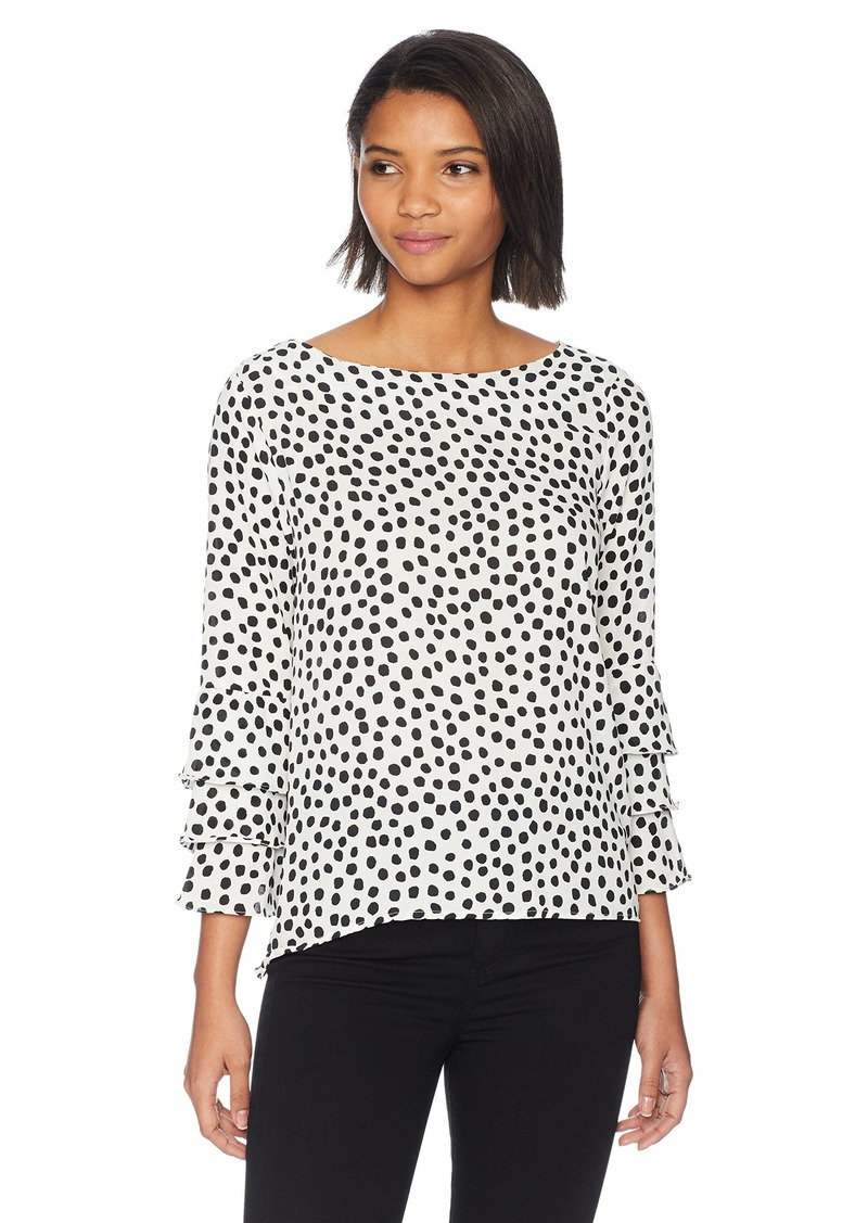 Nicole Miller New York Women's Long Sleeve Ruffle Blouse White with Black Polka dots XL