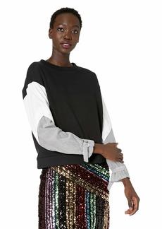 Nicole Miller New York Women's Mixed Media Top black/white-00601