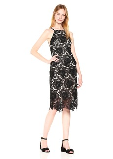 Nicole Miller New York Women's Modified Halter Scallop Lace Sheath