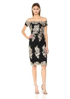 Nicole Miller New York Women's Off-Shoulder Sequin Embroidery Cocktail Dress