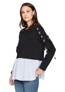 Nicole Miller New York Women's Peplum Hem Sweatshirt  M