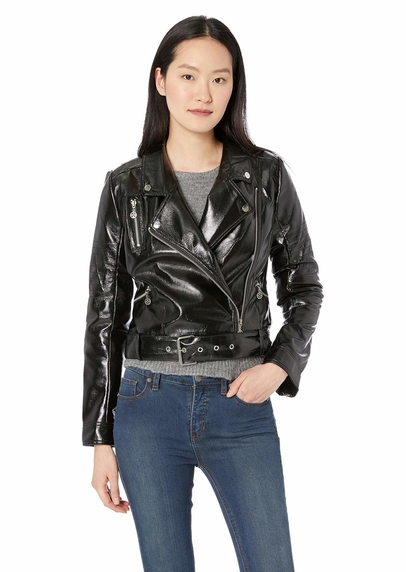 Nicole Miller New York Women's Pleather Moto Jacket