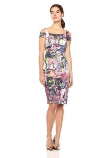 Nicole Miller New York Women's Printed Cold Shoulder Sheath Midi Dress