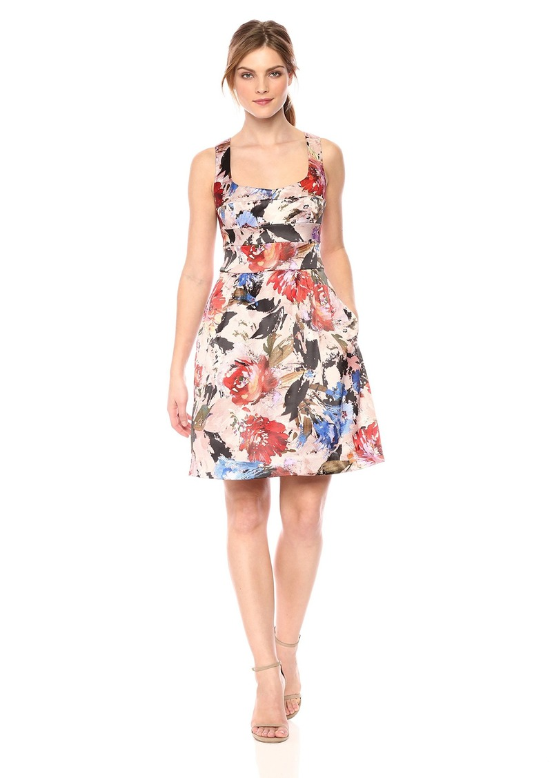 Nicole Miller New York Women's Printed fit and Flare Cocktail Dress