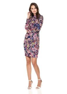 Nicole Miller New York Women's Printed Long Sleeve Mock Neck Sheath Dress