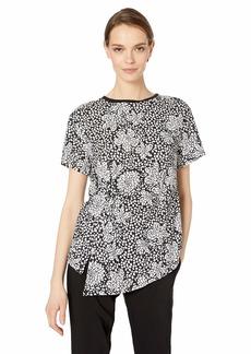 Nicole Miller New York Women's Printed Short Sleeve Top