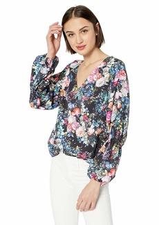 Nicole Miller New York Women's Puff Long Sleeve Blouse Black/Winter floral-00206