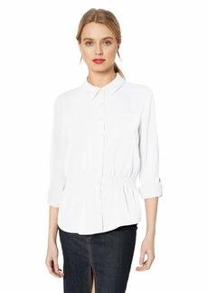 Nicole Miller New York Women's Rolled Sleeve Shirt Bright White-10001