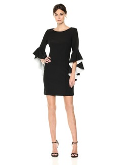Nicole Miller New York Women's Ruffle Bell Sleeve Shift Dress Black/Ivory