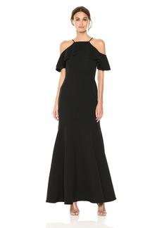 Nicole Miller New York Women's Ruffle Cold Shoulder Gown