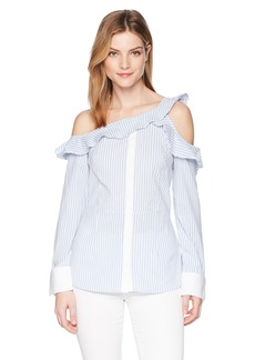 Nicole Miller New York Women's Ruffle One Shoulder Long Sleeve Blouse  S