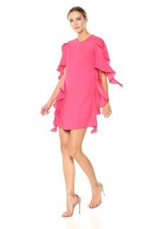 Nicole Miller New York Women's Sheath Dress with Side Seam Cascade Ruffle
