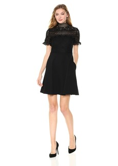 Nicole Miller New York Women's Short Sleeve Lace and Ruffle Fit and Flare Dress