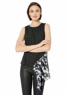 Nicole Miller New York Women's Side Drape Sleeveless Top Black/White combo-00205