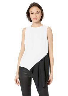 Nicole Miller New York Women's Side Drape Sleeveless Top white/black-10001