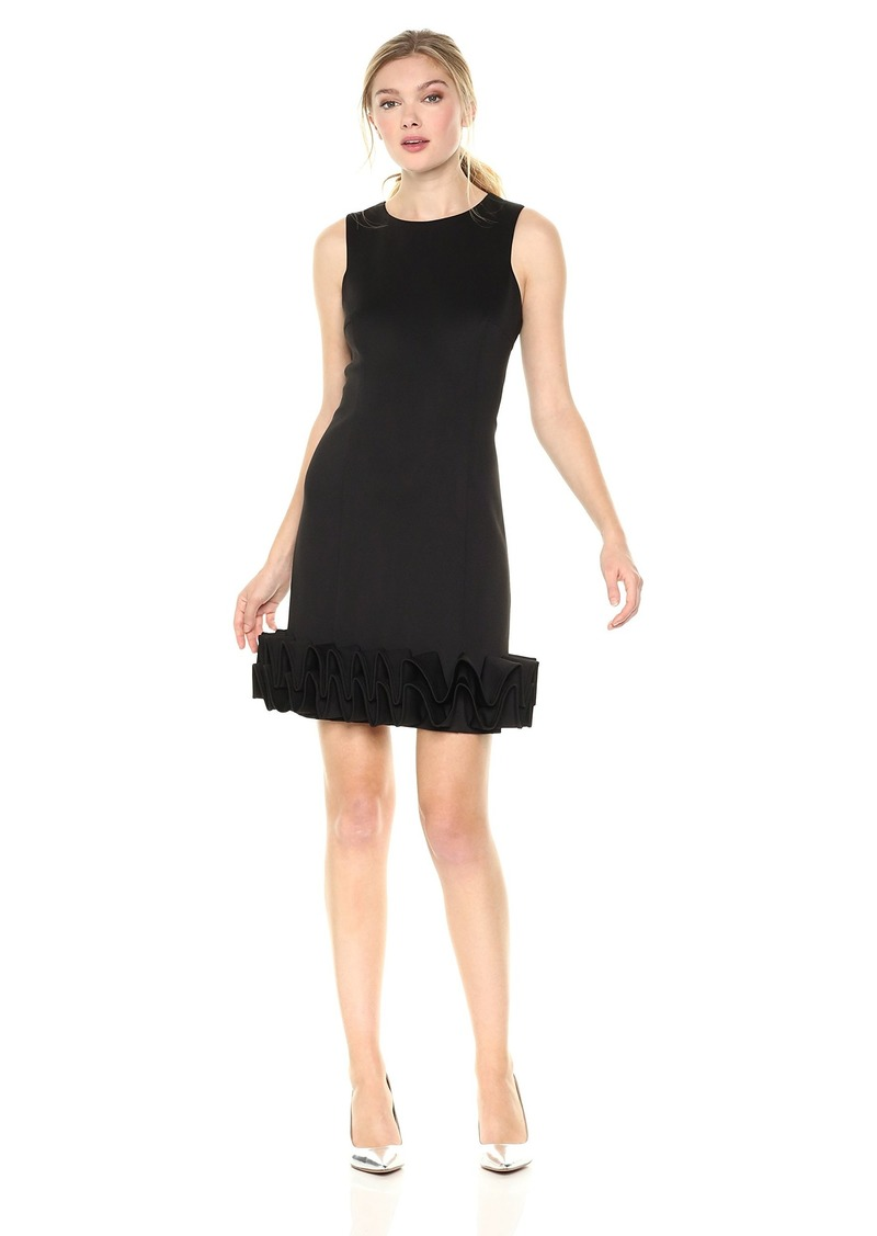Nicole Miller New York Women's Sleeveless 3D Ruffle Hem Shift Dress