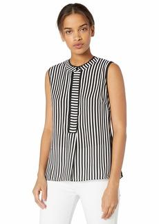 Nicole Miller New York Women's Sleeveless Blouse Black/White Stripe-00119