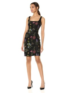 Nicole Miller New York Women's Sleeveless Embroidered Sheath Dress