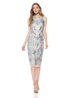 Nicole Miller New York Women's Sleeveless Fitted Embroidered Cocktail Dress ice Blue/Silver