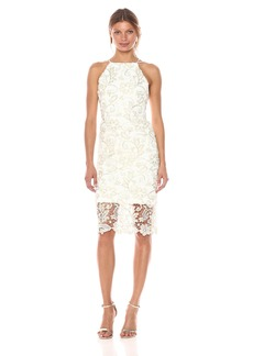 Nicole Miller New York Women's Sleveeless Metallic Floral Lace Sheath Dress