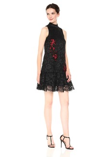 Nicole Miller New York Women's Sleeveless Mock Neck A-line Applique lace Black/red