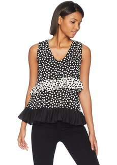 Nicole Miller New York Women's Sleeveless Ruffle Top Wirh Polka Dot Print Detail Black with Polka Dots M