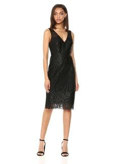 Nicole Miller New York Women's Sleeveless V-Neck Fitted Cocktail Dress