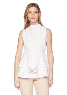 Nicole Miller New York Women's Sleevless LACE Peplum TOP  L