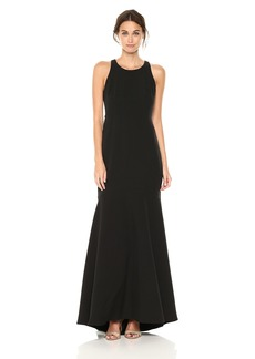 Nicole Miller New York Women's Sleveeless Cascade Ruffle Back Gown