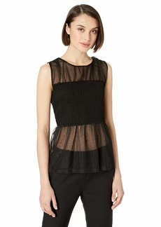 Nicole Miller New York Women's Smocked Sleeveless Top black-00205