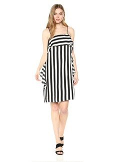 Nicole Miller New York Women's spaghtetti Strap Cascade Ruffle Shift Dress