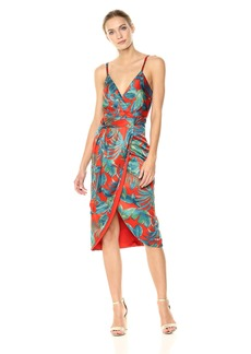Nicole Miller New York Women's Spaghtetti Strap Faux Wrap Dress Detachable Sash