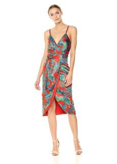 Nicole Miller New York Women's spaghtetti Strap Faux wrap Dress with Detachable sash