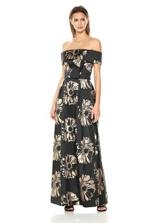 Nicole Miller New York Women's Strapless Long Gown with Velvet Combo