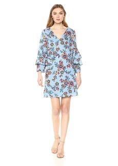 Nicole Miller New York Women's Tier Bell Sleeve a-line Dress